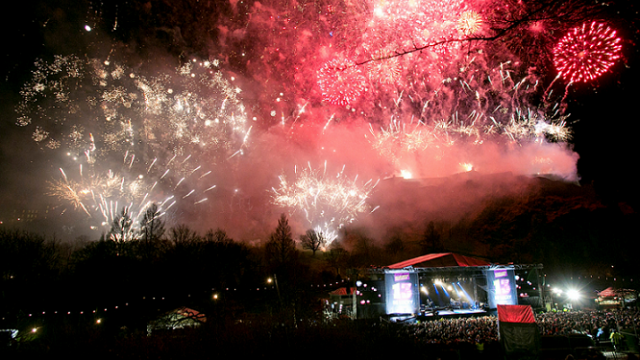 Edinburgh's Hogmanay 2013 - Concert in the Gardens - Fireworks and Stage - credit Lloyd Smith